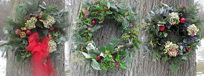Christmas wreaths made at Moon Down